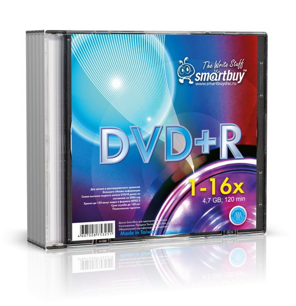 Smart Buy DVD+R 4.7 Gb16x/Slim 5